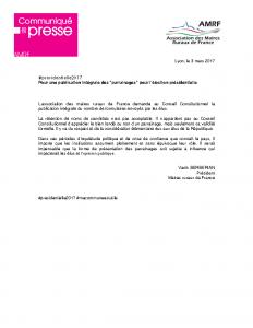 03-03 Publication des parrainages pour l'élection présidentielle