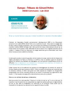 Europe : Tribune de Gérard Peltre – Juin 2018