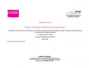 Invitation Remise des cahiers de doléances et de propositions