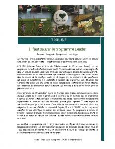 Tribune – Il faut sauver le programme Leader