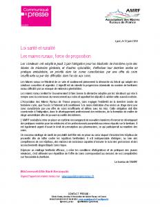 Projet de Loi Santé les maires ruraux force de proposition_