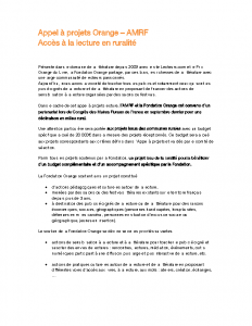 Appel à Projet Orange-AMRF Lecture