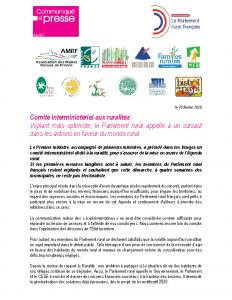 200220 – CP Parlement Rural suite au Comité Interministériel aux ruralités