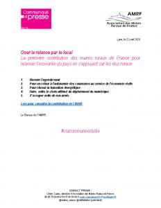 200422 – Oser la relance par le local – La contribution des maires ruraux de France