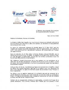 200409 Courrier Associations d'élus gde distribution Covid19