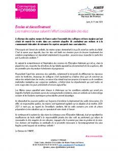 200511 – CP Ecoles et déconfinement – Maires ruraux saluent l'effort des élus