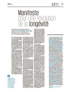 Tribune Le Monde – Manifeste Longévité