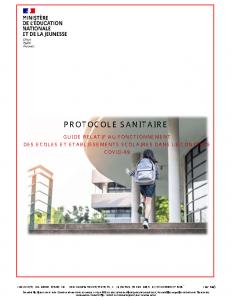 Protocole sanitaire relatif aux écoles et établissements scolaires au 22 juin 2020