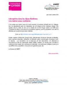 201005 – CP Intempéries dans les Alpes-Maritimes Les maires ruraux solidaires