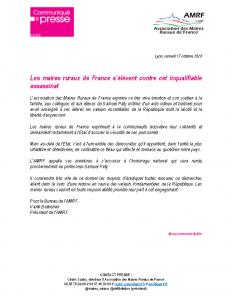201017 – CP Les maires ruraux de France s'élèvent contre cet inqualifiable assassinat