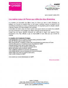 201003 – CP Les maires ruraux de France aux côtés des élus Arméniens