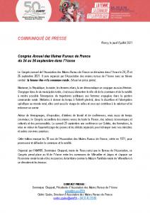 210708 – CP Congrès des Maires Ruraux de France